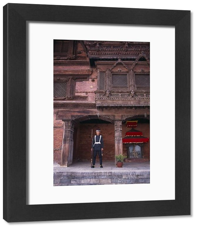 33x28 cm frame with high quality print (other products available) - NEPAL, Kathmandu <br> Royal Palace or Hanuman Dhoka. Sentry on guard - Image supplied by EyeUbiquitous - #MediaStorehouse - 33x28 cm Frame and mount made in Australia