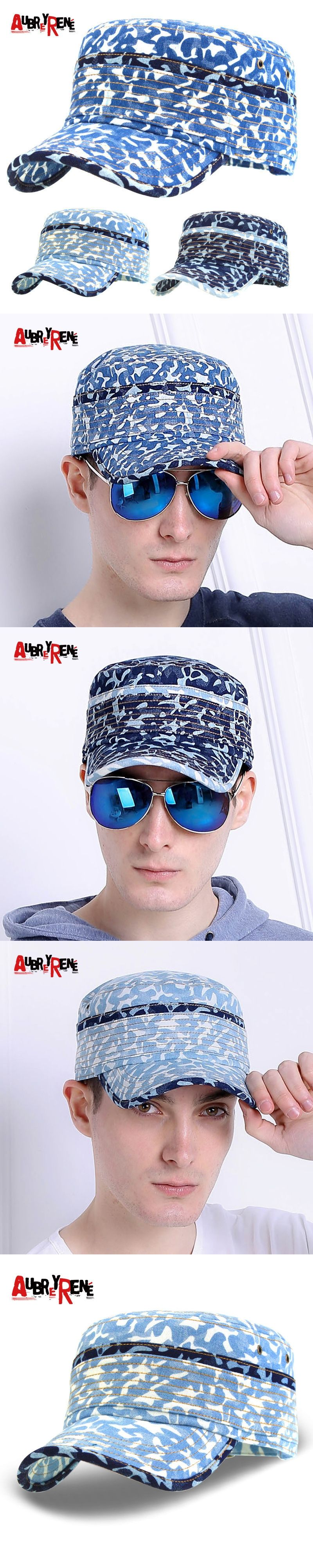 cfe3a4613af AUBREYRENE 2017 men outdoor camouflage military hat combat hat for male  army flat top caps cool denim blue soldier caps snapback