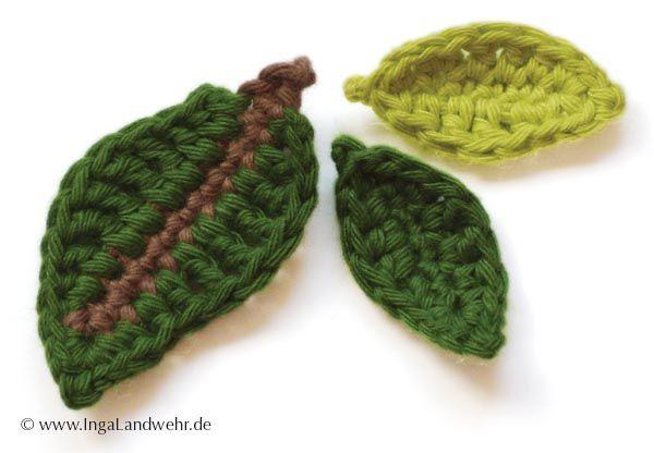 Blätter häkeln mit kostenloser Anleitung für 2 Größen