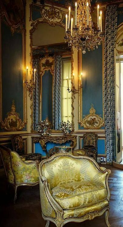 Barque Decor Living Room: Detail Of A Rococo, Blue Paneled Room In The Louvre