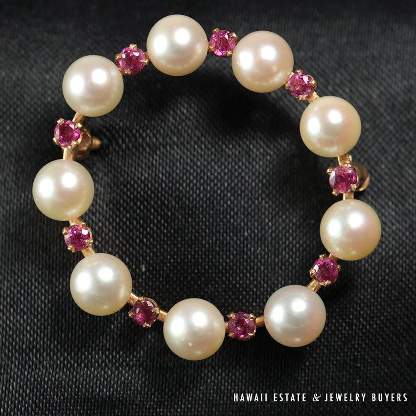 see more #vintagejewelry and #estatejewelry on our website! (link in bio). #VINTAGE #PEARL #RUBY #CIRCLEOFLIFE #BROOCH #PIN 14K YELLOW GOLD NR JEWELRY