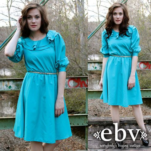 #Vintage 80's Teal Ruffled Secretary Day Dress S M by shopEBV, $32.00