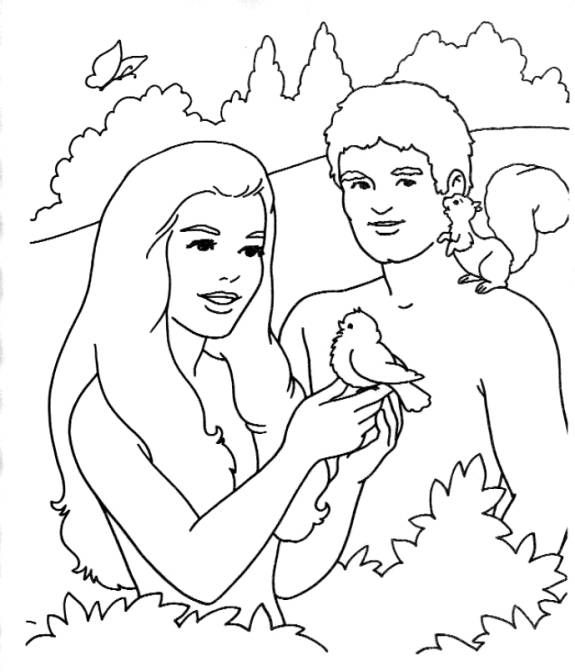 Adam and Eve colouring page for arrival activities, snack time, or ...