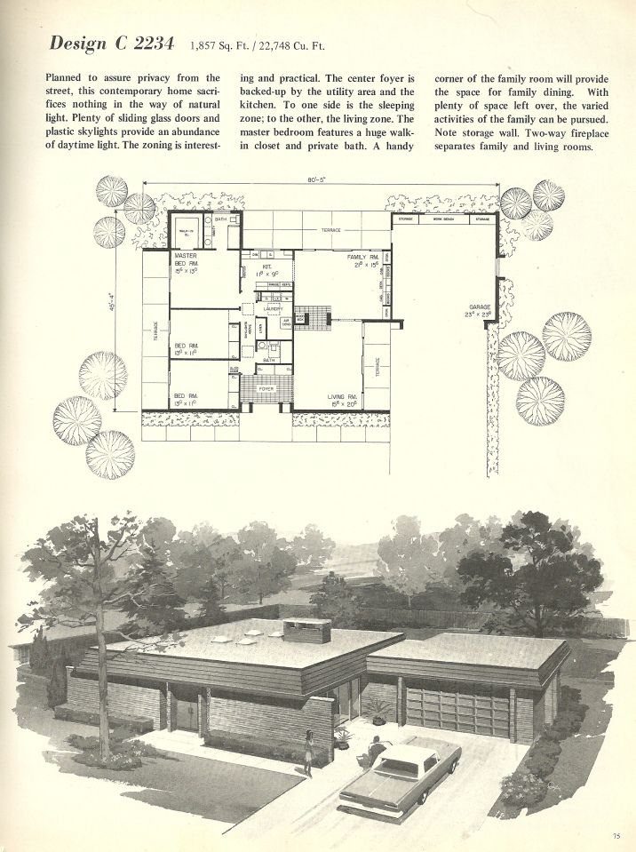 Vintage House Plans 1960s Homes Mid Century Homes Vintage