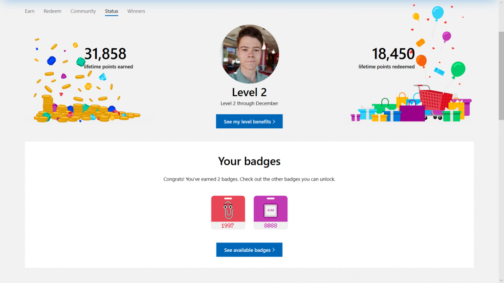 Microsoft Rewards begins to roll out Badges, a new