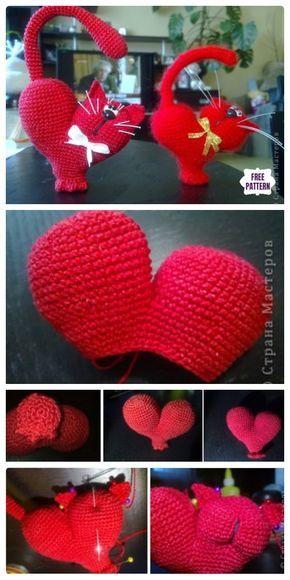 Crochet Valentine Cat Amigurumi Free Pattern #crochetamigurumifreepatterns