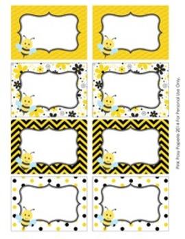 Bee Theme Classroom Decor Bin Tag Labels