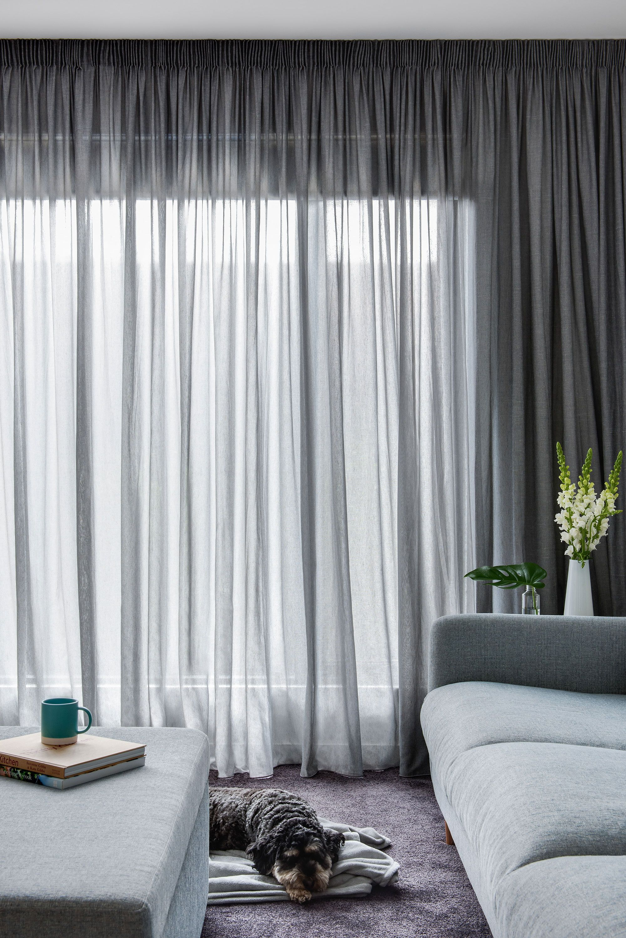 Pencil Pleat Curtain In Elain Asphalt Sheer Fabric Window