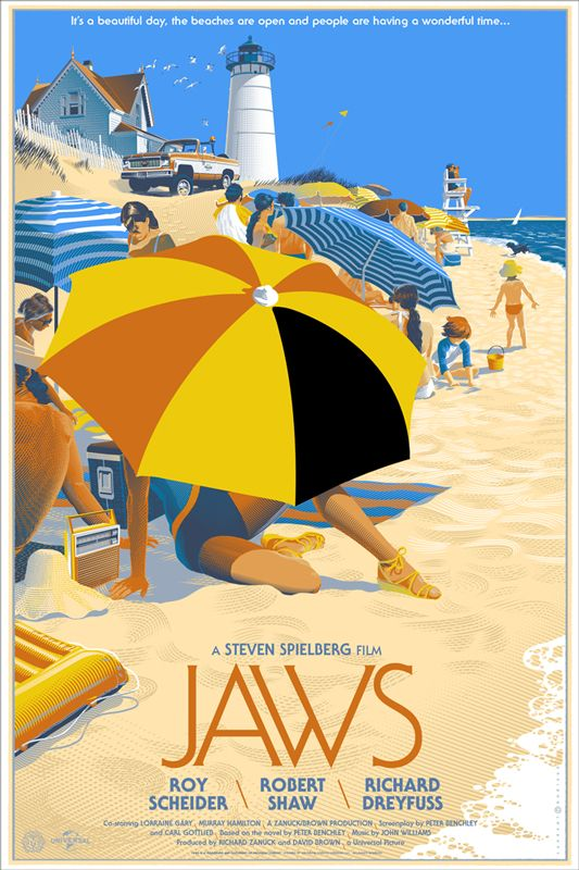 So Cool Jaws Movie Poster By Laurent Durieux Look At All The Detail Work And The Crosshatching Techniques Th Mondo Posters Movie Prints Movie Posters Design