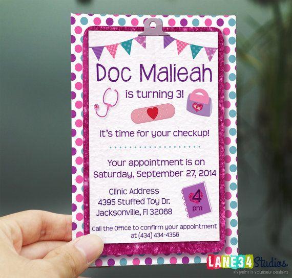 SALE Birthday Invitation | Doc Mcstuffins Birthday Invitation Printable DIY No. I58
