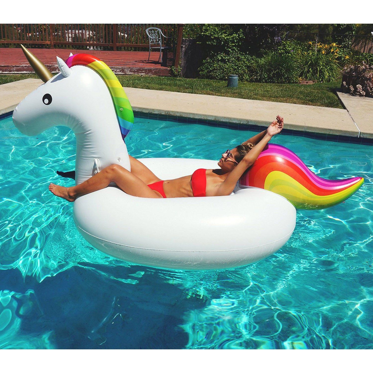 Inflatable Giant Unicorn Pool Float With Repair Kit And