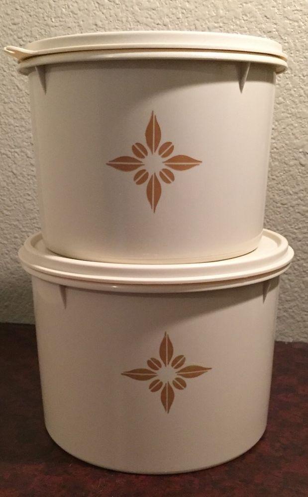 Vintage TUPPERWARE Almond Starburst Stackable Canister Set w/ Lids in Home & Garden, Kitchen, Dining & Bar, Kitchen Storage & Organization | eBay