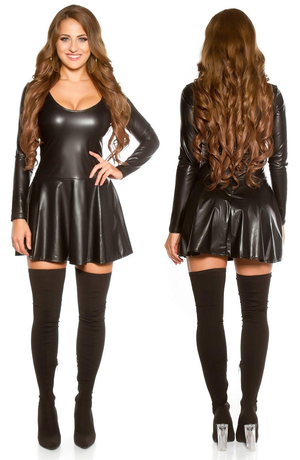 b4cce38d64 Hosszú ujjú bőr hatású ruha bő, széles szabású szoknyával. Anyaga: 95%  Polyester