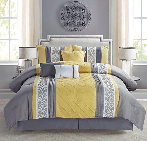 Modern 7 Piece Bedding Yellow Grey White Emboidered And Pin