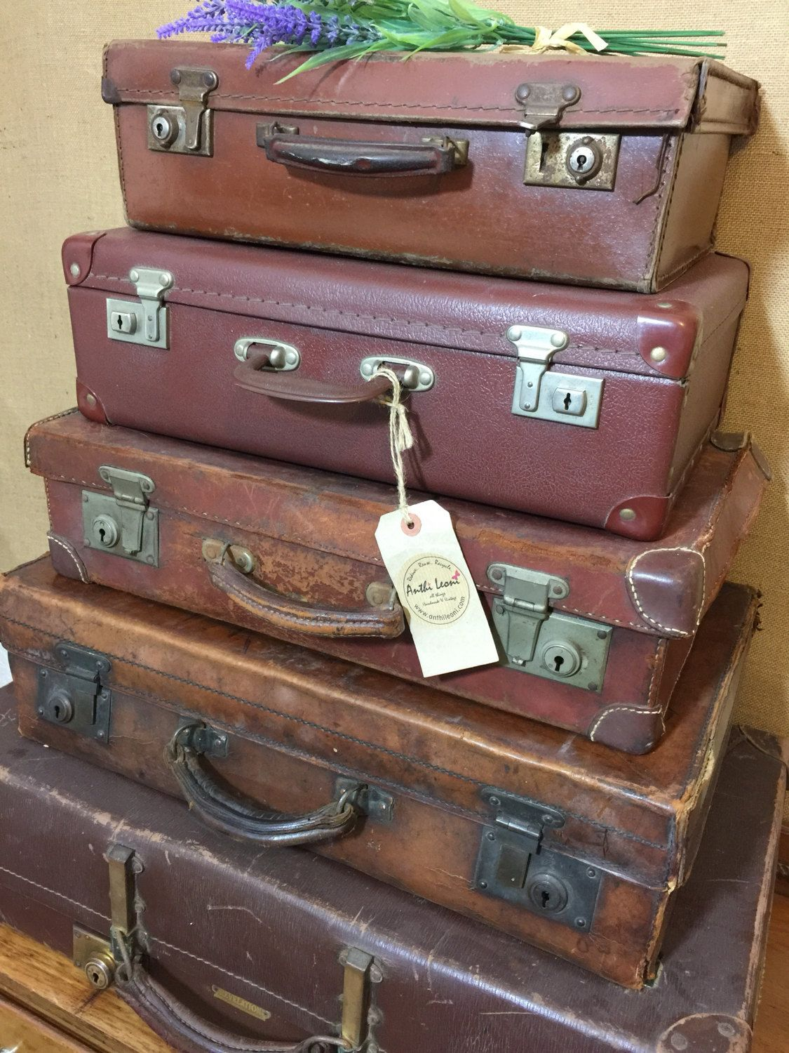 Vintage Brown Suitcases   Tan Vintage Luggage   Vintage Home Decor    Suitcase Stack Storage