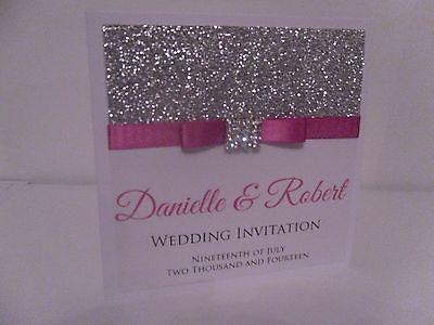 """Feito À Mão Personalizada """"Madison Square"""" Glitter Brilhante amostra Convite De Casamento"""