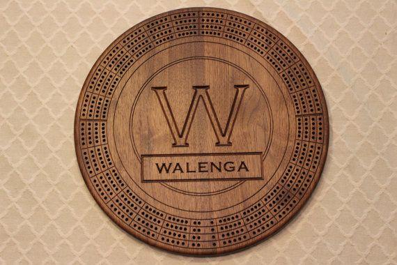 Custom monogram track cribbage board black walnut th