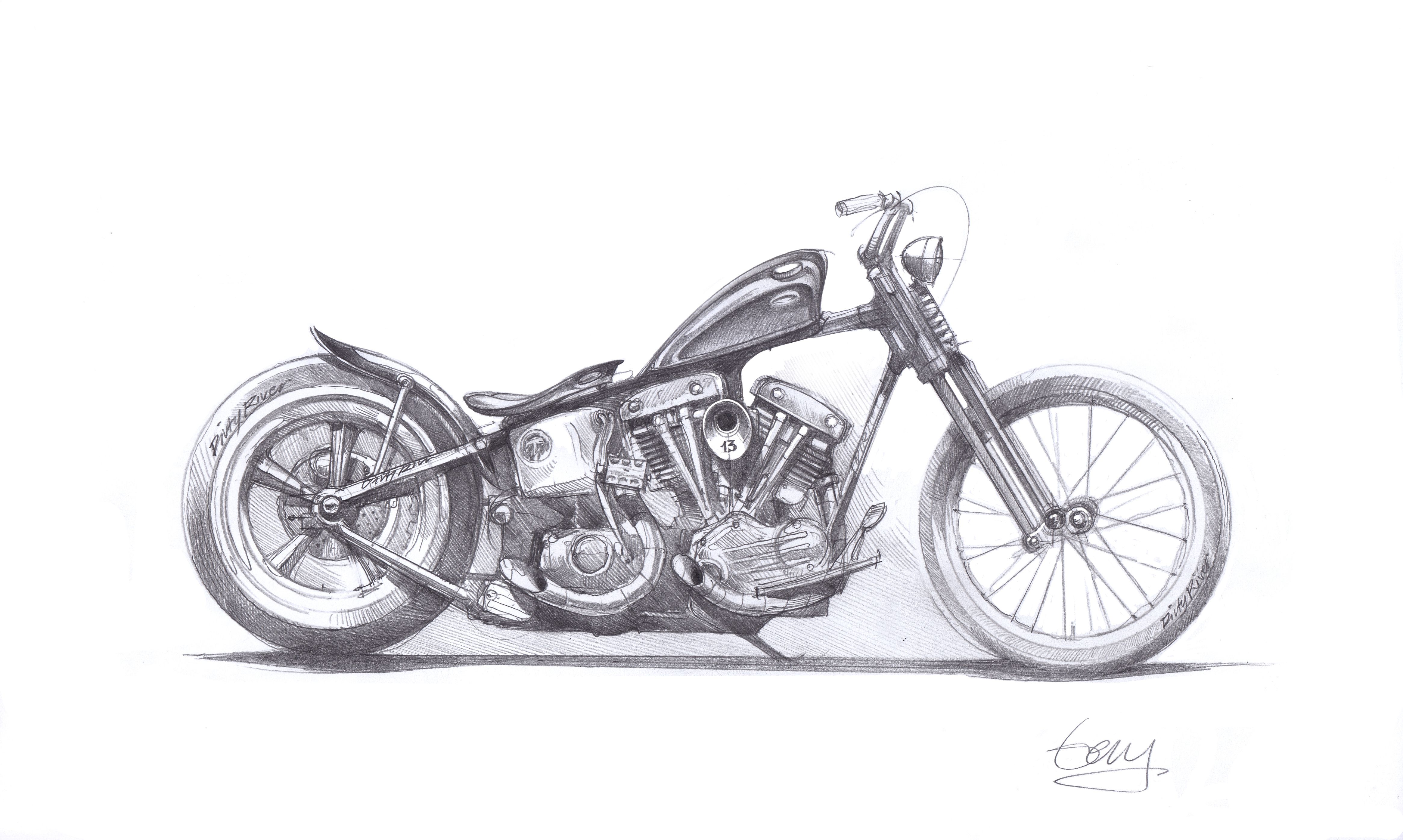 Harley-Davidson hardtail bobber poster print motorcycle art in 2018 ...