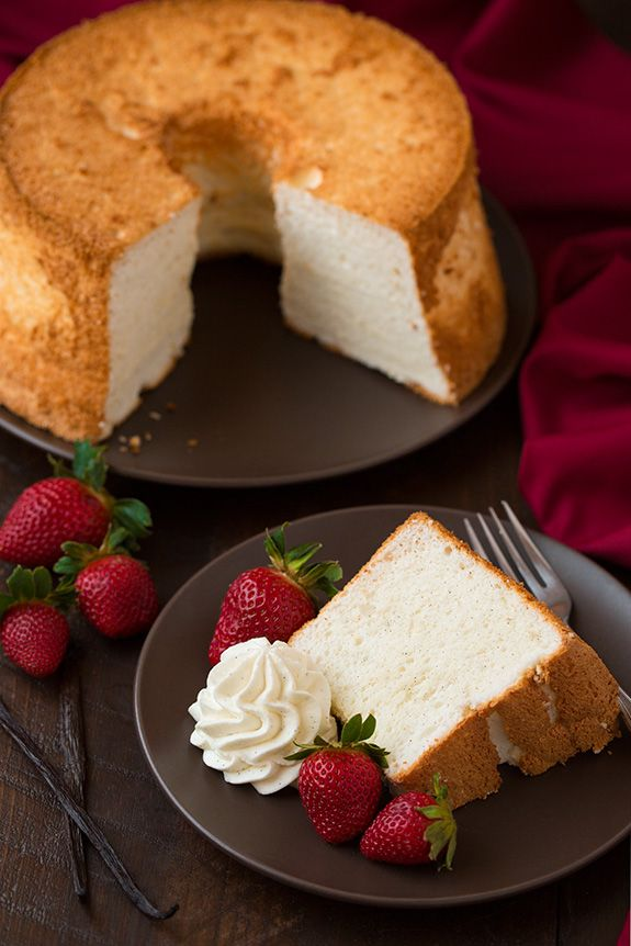 Vanilla bean angel food cake cooking classy sweet tooth the best homemade angel food cake recipe perfectly light and fluffy and not dry delicious with fruit sauce and whipped cream forumfinder Image collections