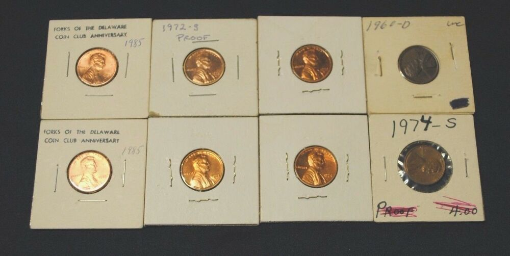 Lot of 8 Lincoln Cent Penny Coins Uncirculated 1960D 1972S