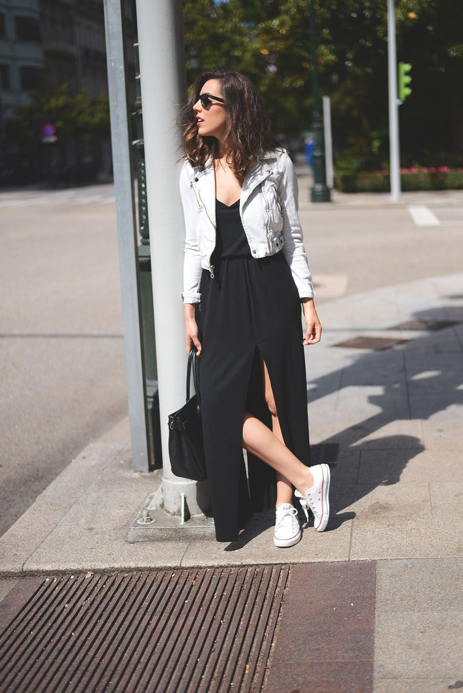Keep it cool in a cotton maxi dress. Throw on a moto jacket for a night out.