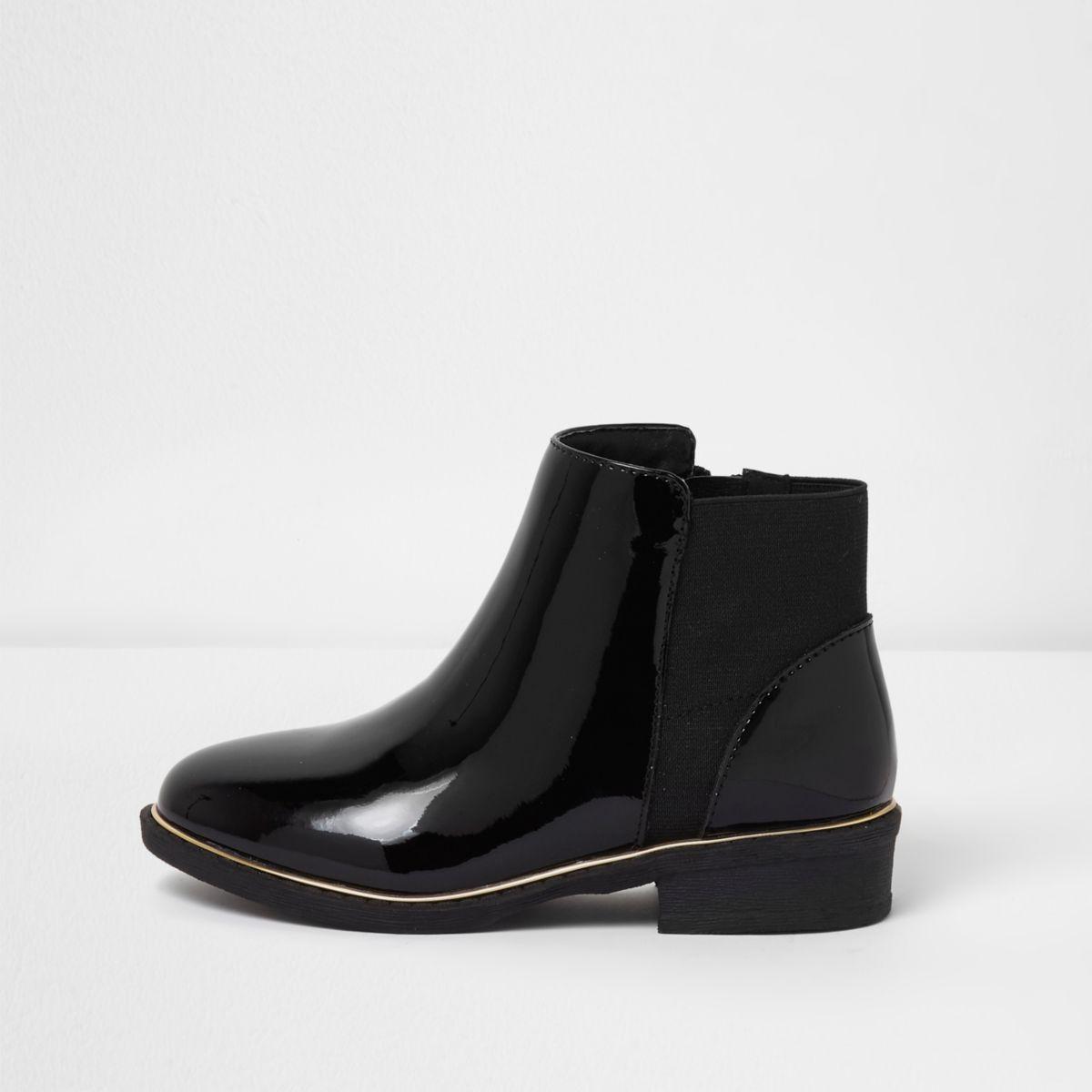 Embellished polished leather ankle boots