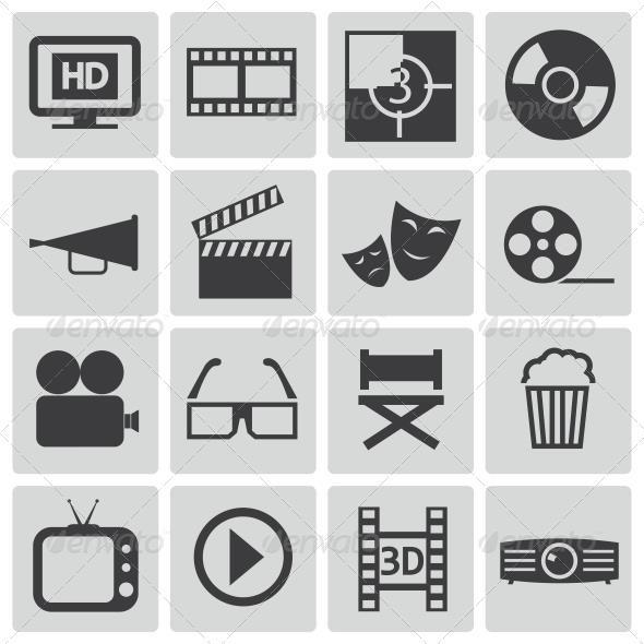 Vector Black Cinema Icons Set 008 Graphic Tools Camera De