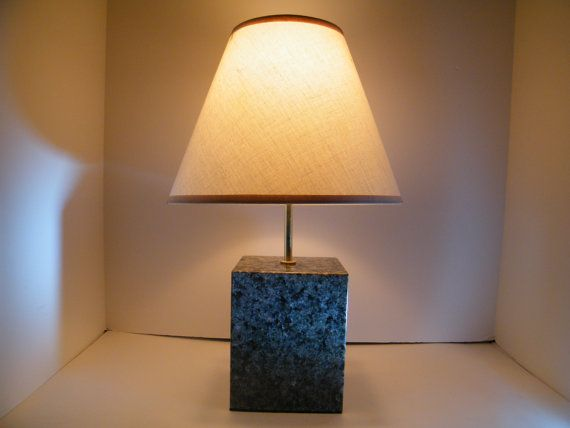 Lamp Set Granite Base Lamps Table Polished