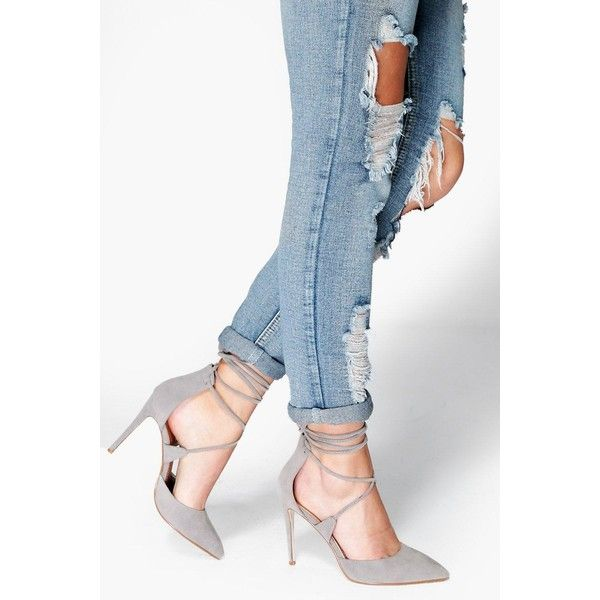 Boohoo Lucy Pointed Wrap Strap Court (160 BRL) via Polyvore featuring shoes, pumps, grey, summer shoes, grey shoes, strappy pumps, evening shoes e grey pumps