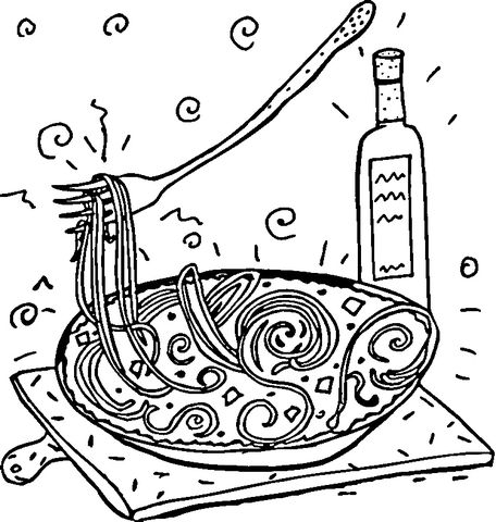 Italian Spaghetti Coloring page | Coloring pages, Free ...
