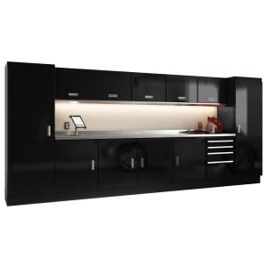 Moduline Select Series 75 In H X 168 In W X 22 In D Aluminum Cabinet Set In Black With Stainless Steel Worktop 13 Piece Segc014 020 B The Home Depot In 2020 Garage