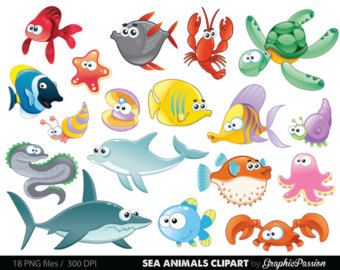 Sea Animal Clipart Sea Animal Clip Art Sea Creatures Fish Clipart Fish Clip Art Commercial Use Cartoon Sea Animals Animal Clipart Free Animal Clipart