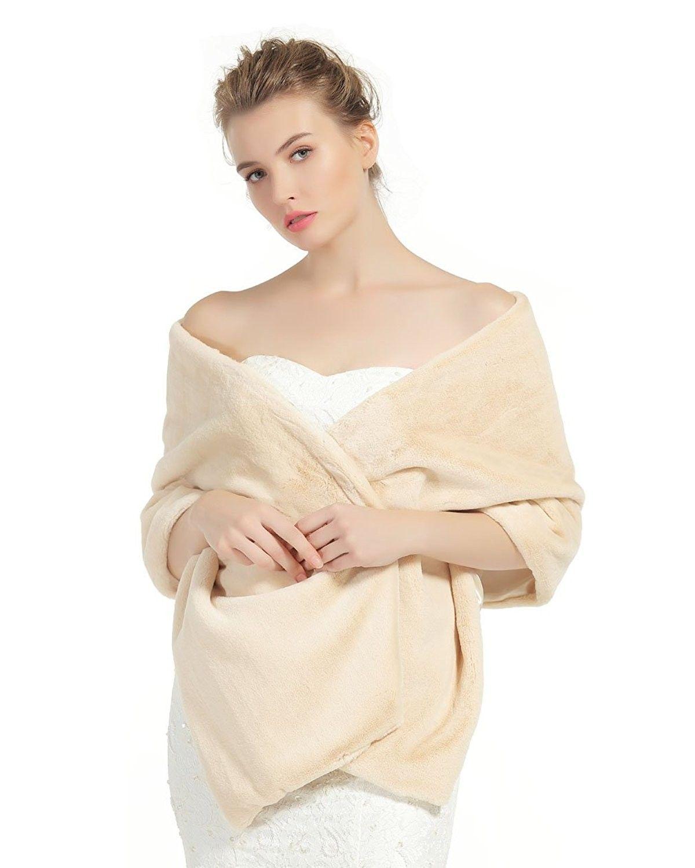 ec78243db7 Shawl Wrap Faux Fur Shrug Stole Scarf Winter Bridal Wedding Cover Up -  Champagne - CQ18800G85T - Scarves & Wraps, Fashion Scarves #SCARVES #WRAPS  ...