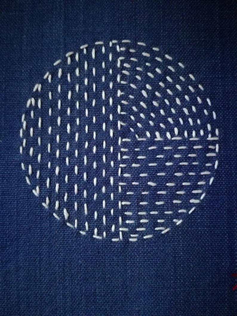 Boro sashiko japonais, patch point lent, cousu à la main à partir de tissus recyclés naturels   – 01- \ To satisfy the current needs for my eyes and for my soul ///