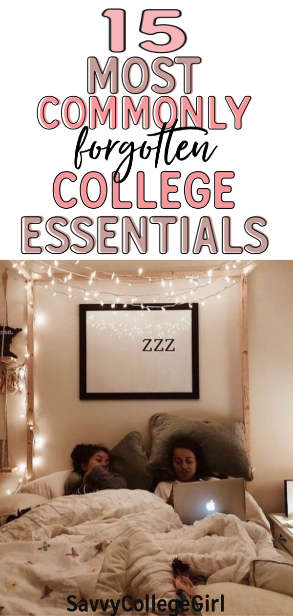 15 Most commonly forgotten college items! Some of these are weird college essentials IO can't live without! If you're creating your college checklist for move-in day, don't forget these items! These are the dorm room essentials I would recommend for any college students living in a dorm room. #collegedormroom #dormroomessentials #dormroomorganization #college #dormroomhacks