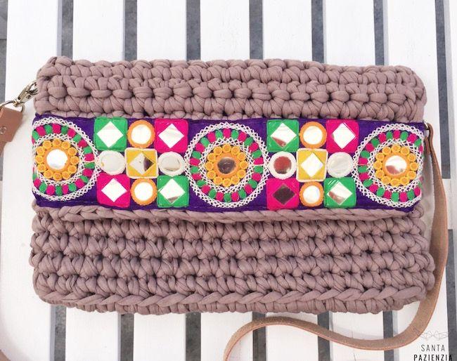 Anatom a de un bolso de trapillo santa pazienzia for Bolso crochet trapillo