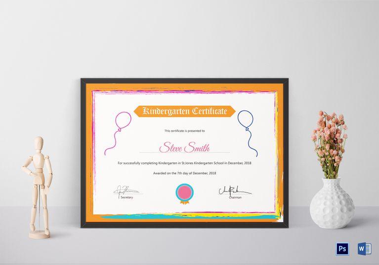 Kindergarten Preschool Certificate Template Certificate Design