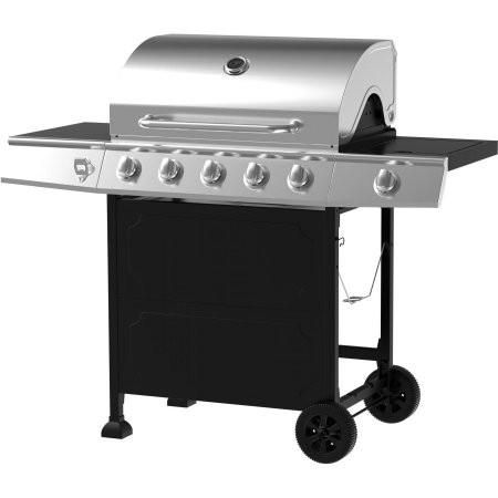 Stainless Steel And Black Portable 5 Burner Gas Bbq Barbeque Grill With Storage Patio Grill With Storage Shelves Stainless Steel Bbq Propane Grill