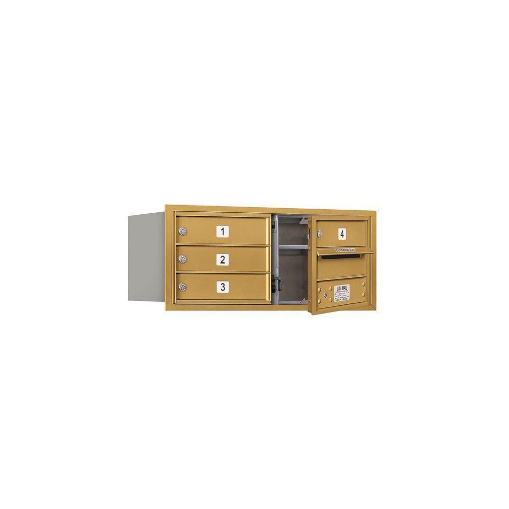 Salsbury Industries 3703D-04GFP 4C Horizontal Mailbox Gold