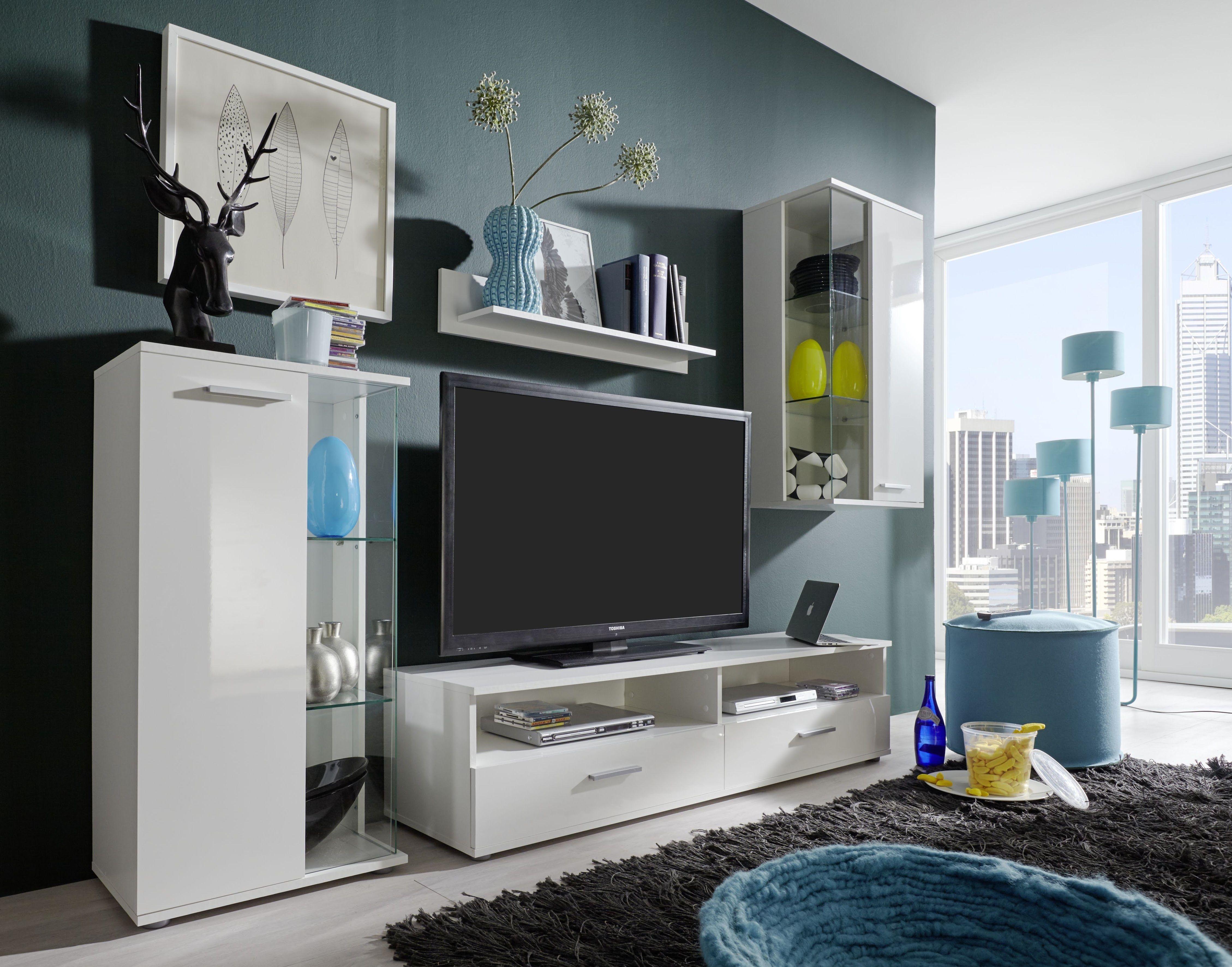 wohnwand weiss glanz weiss melamin woody 93 00919 holz modern jetzt bestellen unter https. Black Bedroom Furniture Sets. Home Design Ideas