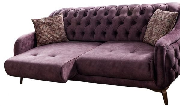 skandinavische Chesterfield Sofa Couch Polster Garnitur 3+3+1