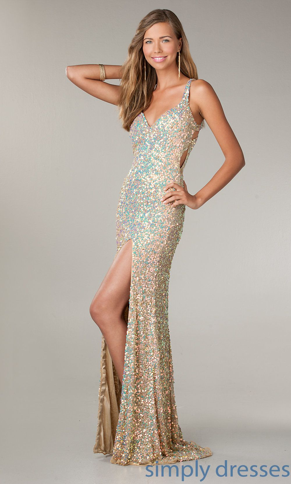 db3dacc1fa Shop Simply Dresses for Primavera formal gowns. Choose open back long  sequin dresses to dance at prom