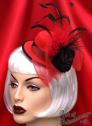 Sanguine Red Mini Top Hat Hair Clip Fascinator  22.00  59815e15fbb8
