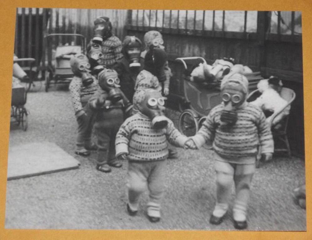 Weird Gas Mask Kids VINTAGE PHOTO War Odd WW2 Image Playing Creepy 1 Wartime P60