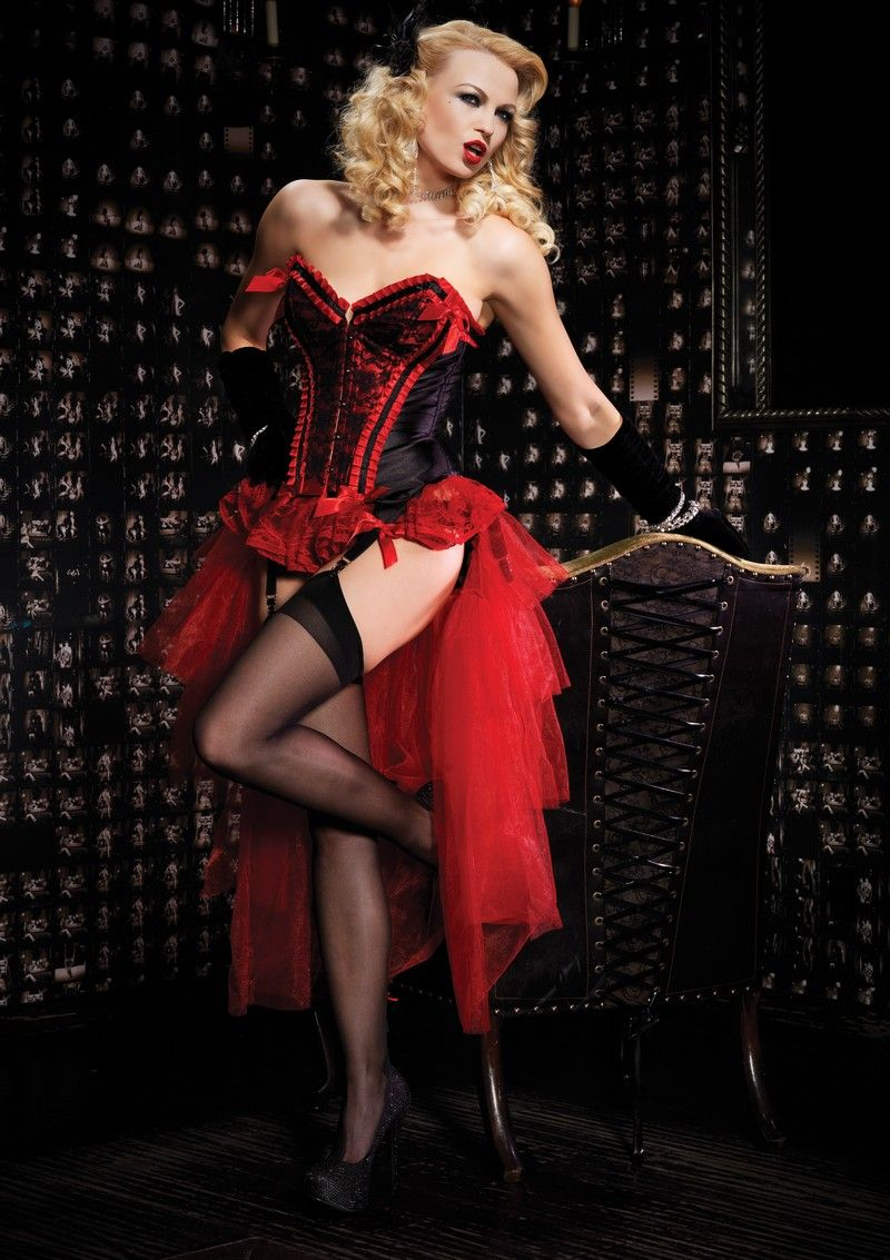 Costumes Aussie Seller Red Valentina Burlesque Corset With Bustle Skirt Option Women