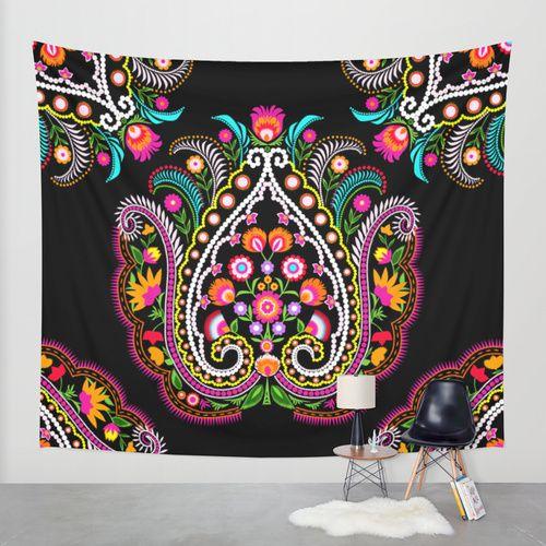 folk damask Wall Tapestry by Bachullus | Society6