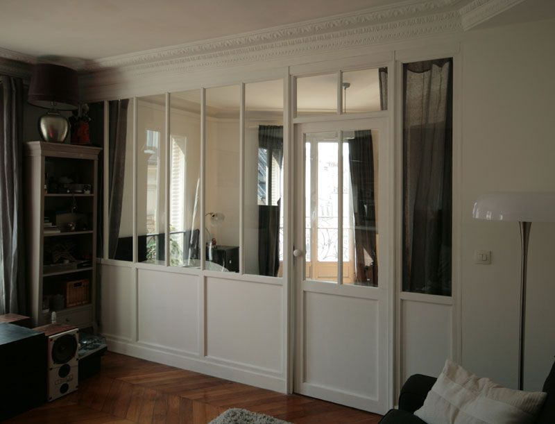 Verri re int rieure bois sur mesure situ e paris - Mur verriere interieur ...