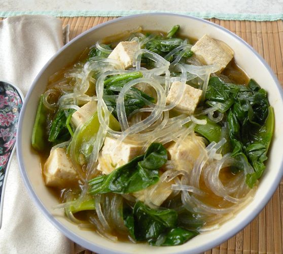Bean Thread Noodle Soup With Tofu And Spinach Glass Noodles Recipe Bean Thread Noodle Bean Thread