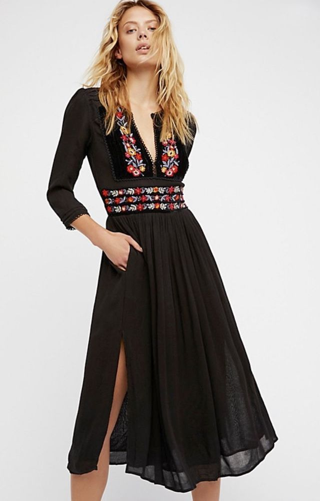 93f99597f5 NWT Free People black Floral Embroidered On Velvet Trim Fit & Flare Midi  Dress S #FreePeople #babydollmaxidressembroideredmididress #AnyOccasion