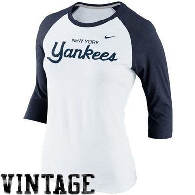 Nike New York Yankees Cooperstown Collection Three Quarter Sleeve Tri Blend T Shirt White Navy Blue New York Yankees Apparel New York Yankees Yankees Outfit
